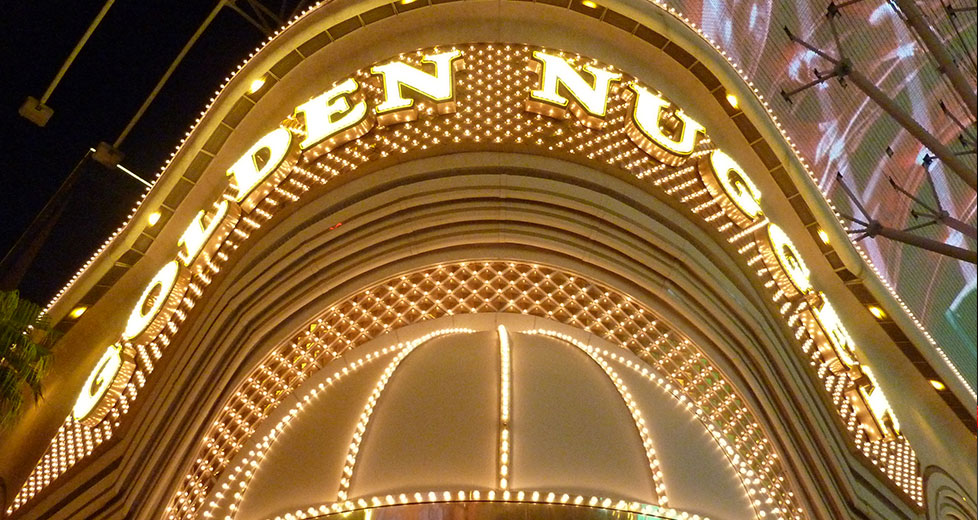 Front View of the Golden Nugget Las Vegas Sign