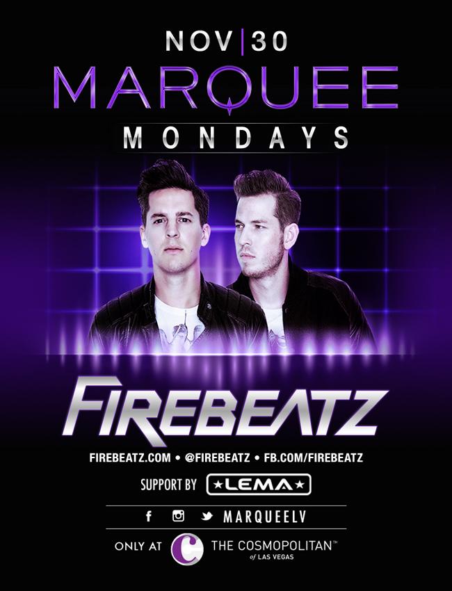 Firebeatz at Marquee Nightclub on Mon 11/30