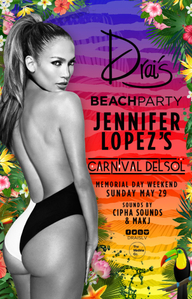 Jennifer Lopez at Drai's Beach Club on Sun 5/29